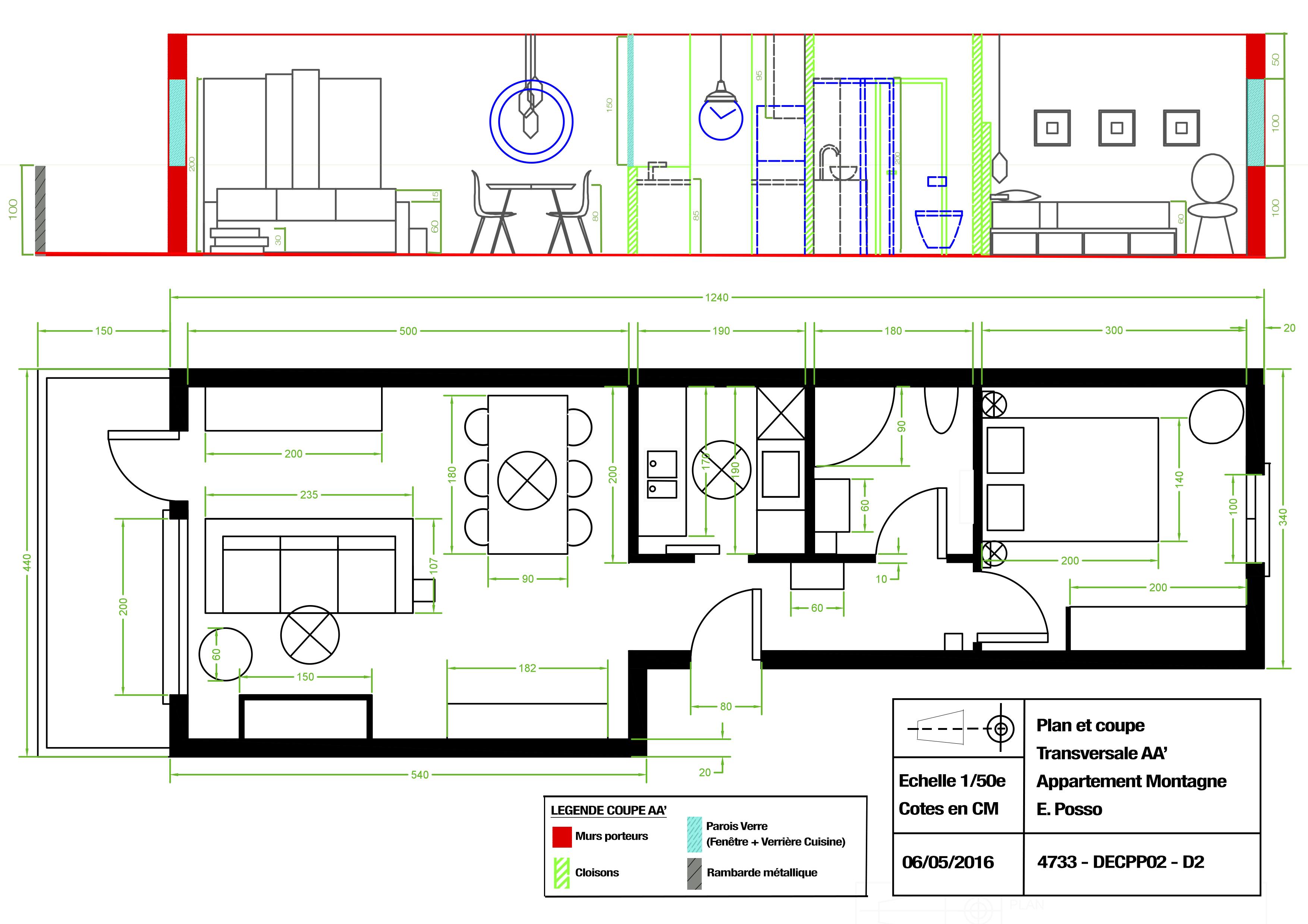 Plan Amenagement Studio 25m2. Cheap Plan Du Projet De Studio With ...